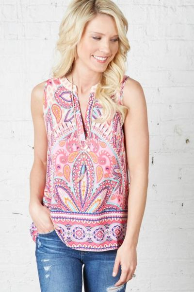 Pink owl Riley Slvless Top