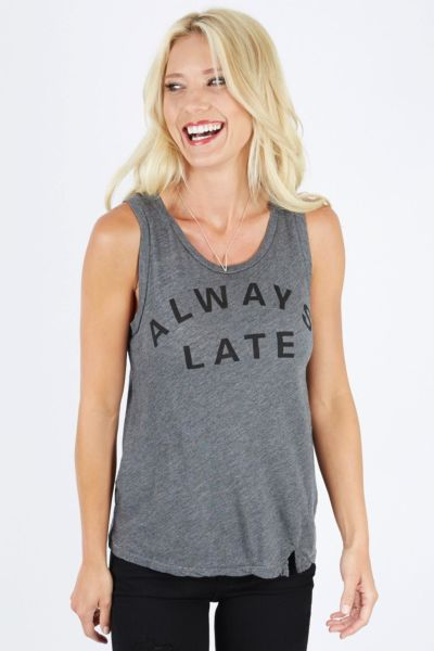 Sundry Always Late Notched Muscle Tee