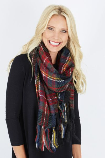 Fame Thick Stitch Plaid Scarf