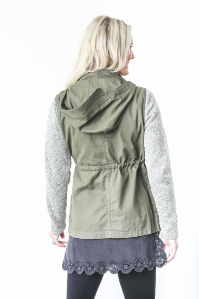 Olive and oak Fatigue Jacket with Contrast Sleeves