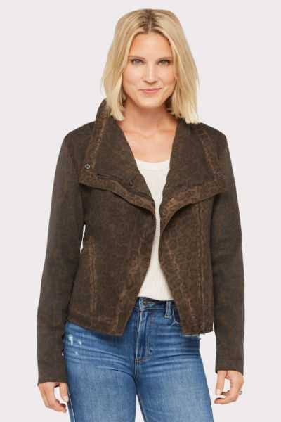 Marrakech Leopard Moto Jacket with Sherpa