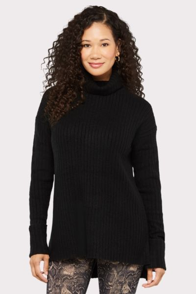Stitches and stripes Ribbed Turtleneck Tunic Sweater