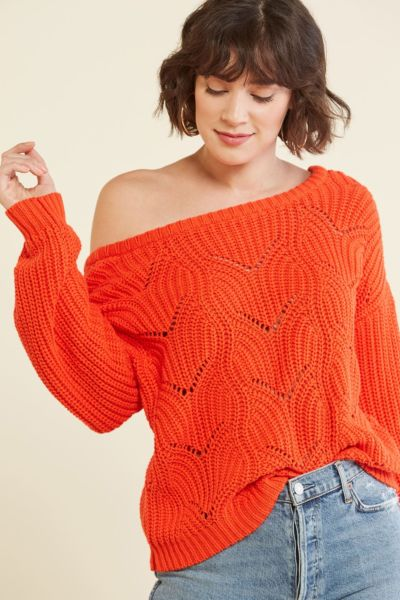 525 america Pointelle U Back Sweater