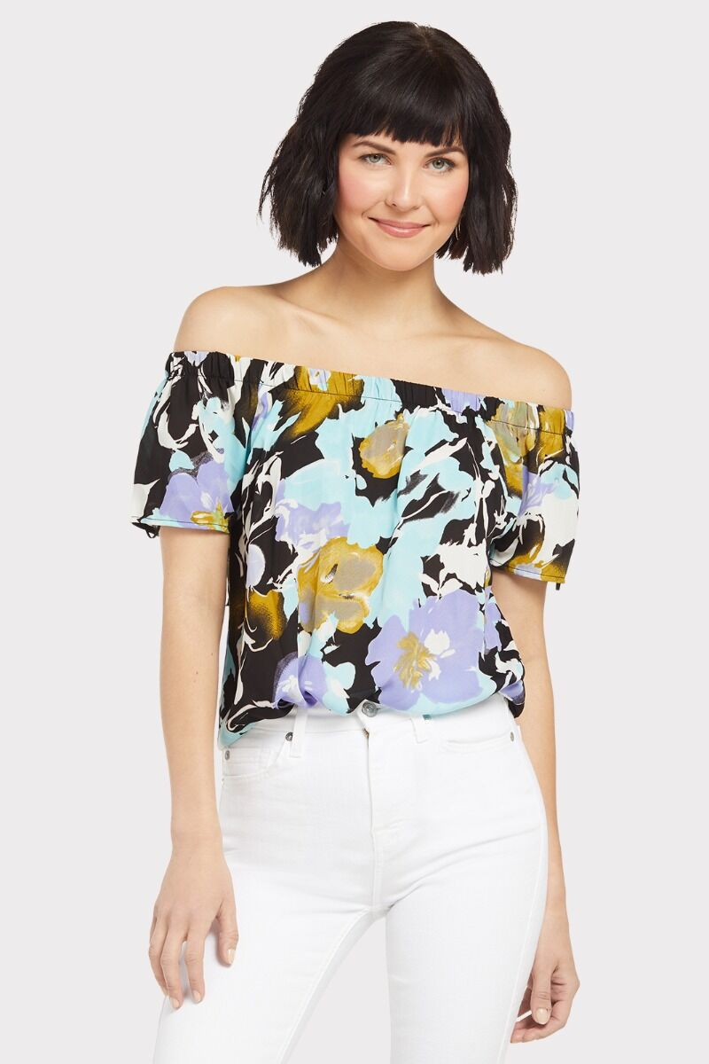 c95b2eeddf0 Watercolor Floral Off Shoulder Top | EVEREVE