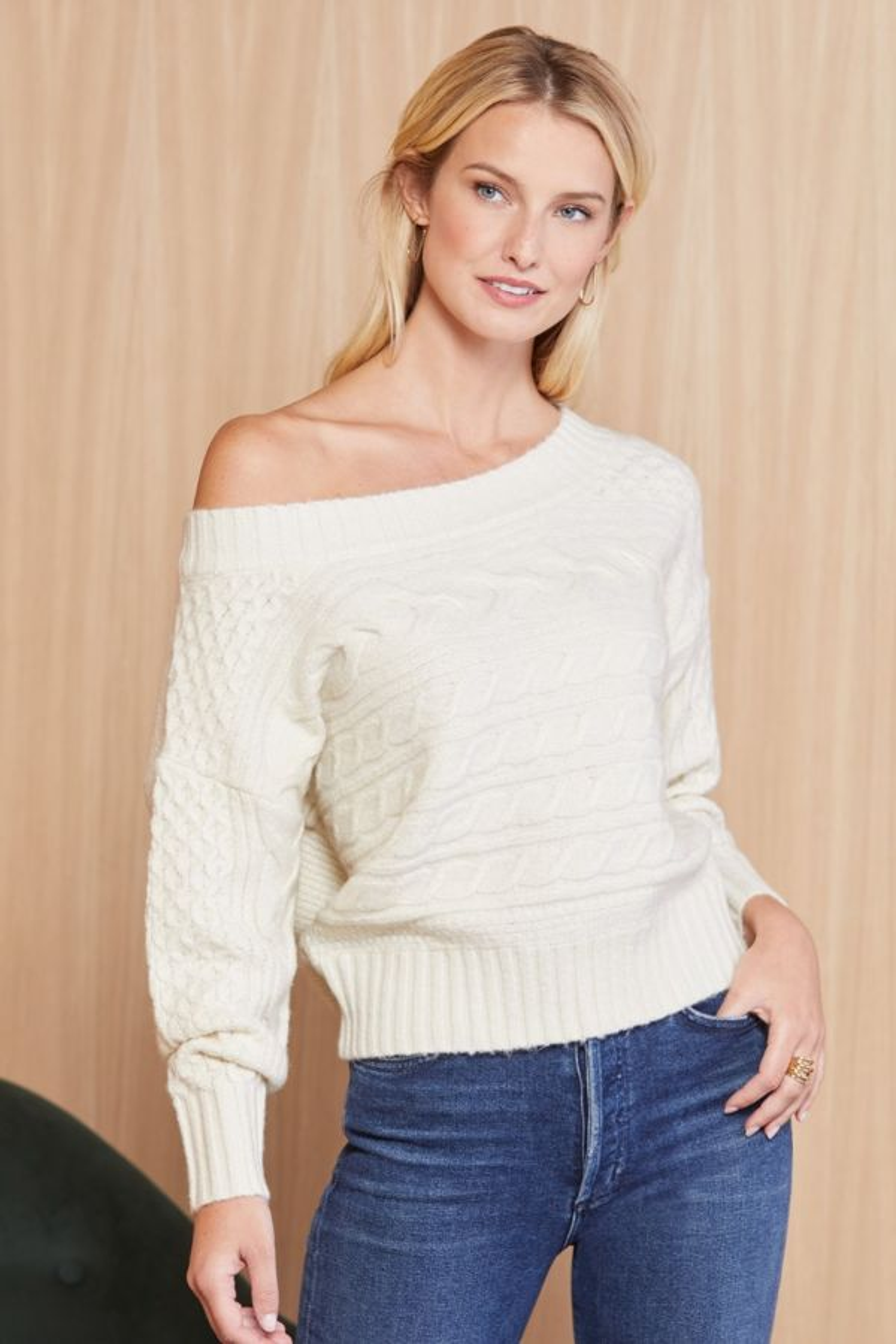 Jamison Lyla Off Shoulder Cabled Sweater