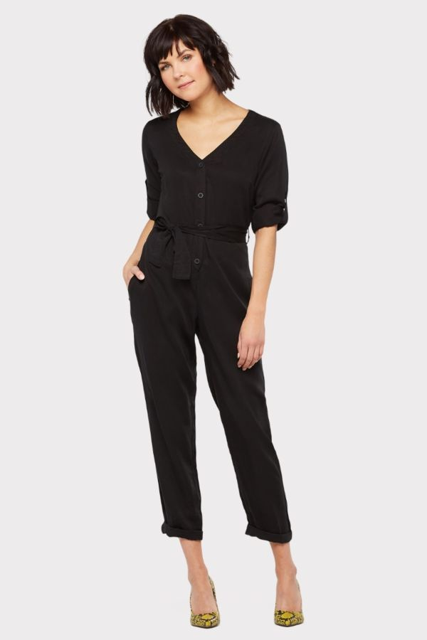 Cloth and stone V-Neck Belted Jumpsuit