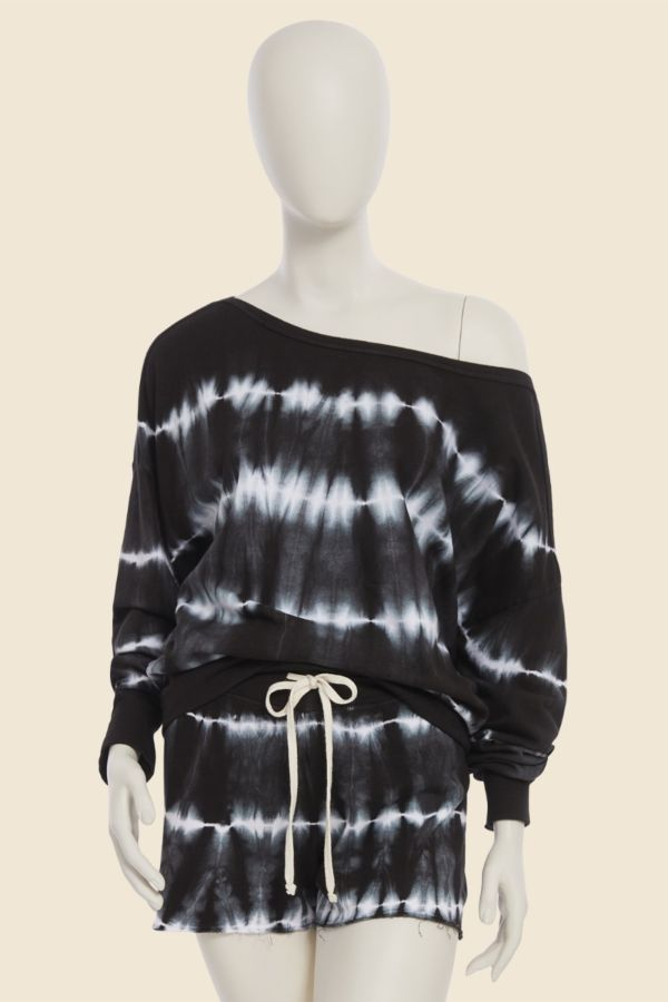Sundry  Tie Dye Off Shoulder Sweatshirt