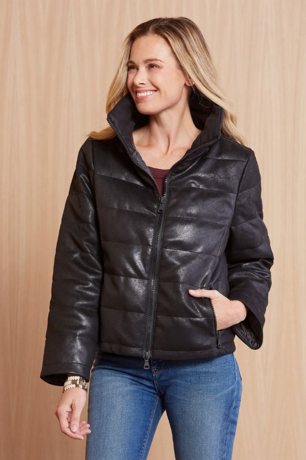 Anorak Distressed Faux Leather Hero Jacket