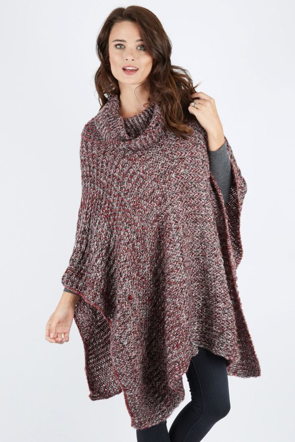 Haute hudson Loose Knit Cowl Neck Poncho
