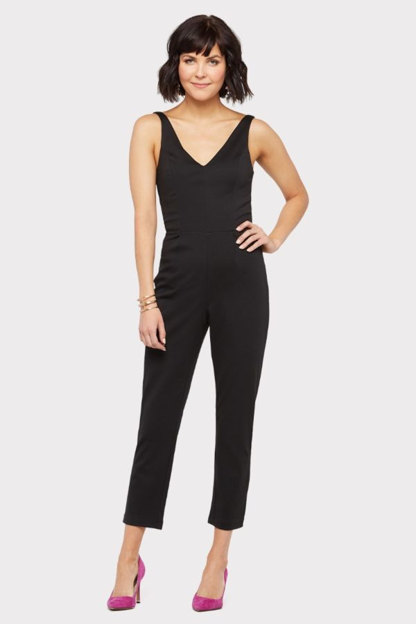 A – new york Double V Neck Jumpsuit