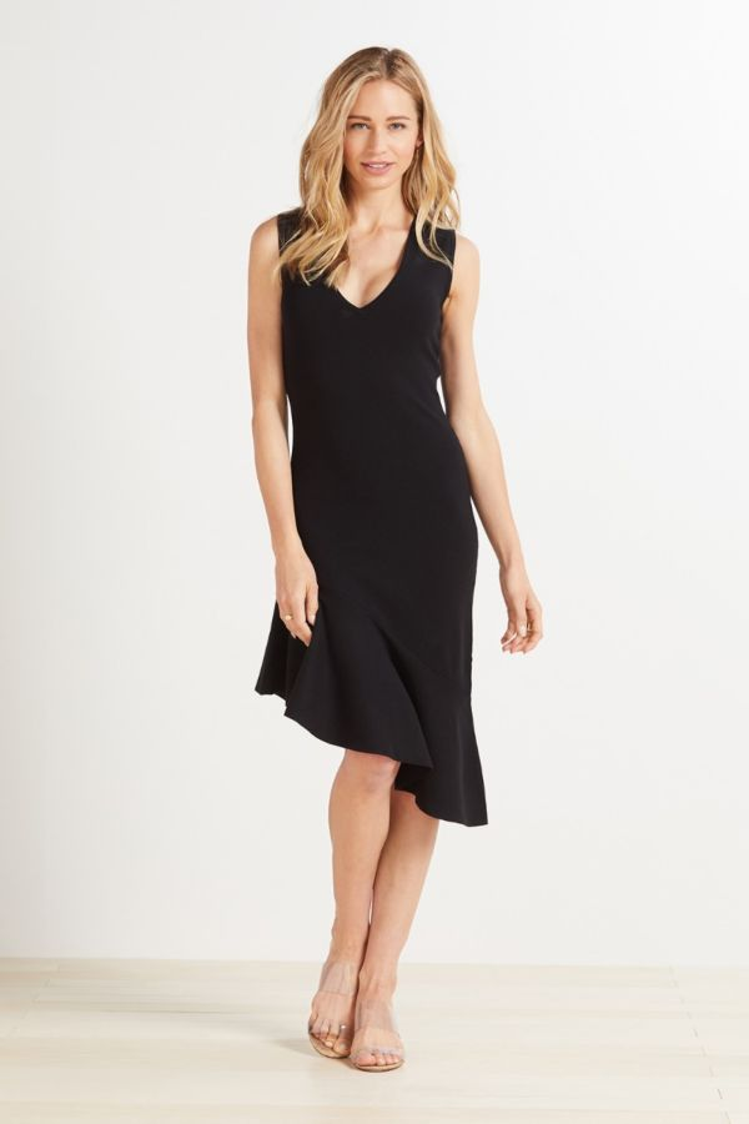 525 Asymmetrical Ruffle Dress