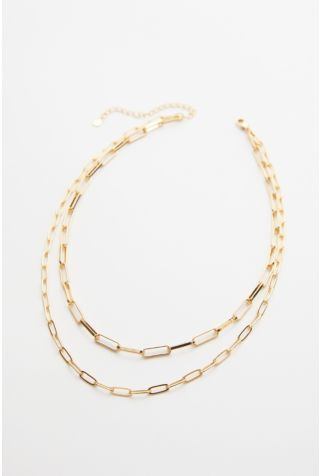 Janie Double Paperclip Chain Necklace