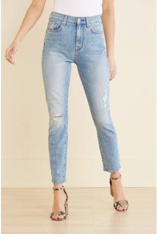 High Waist Ankle Skinny with Destroy