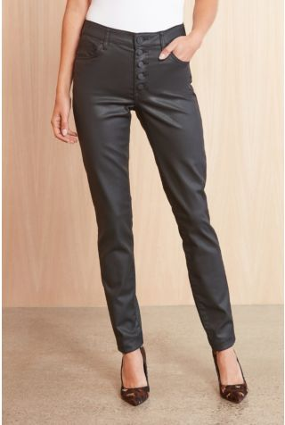 Exposed Button Coated Mia Skinny