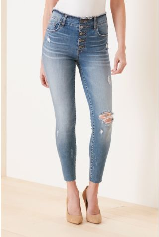 High Rise Connie Ankle Skinny with Exposed Buttons