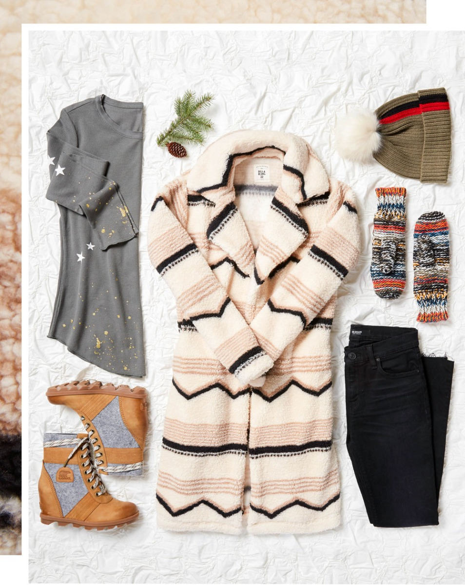 Clothes laydown warm jacket outfit