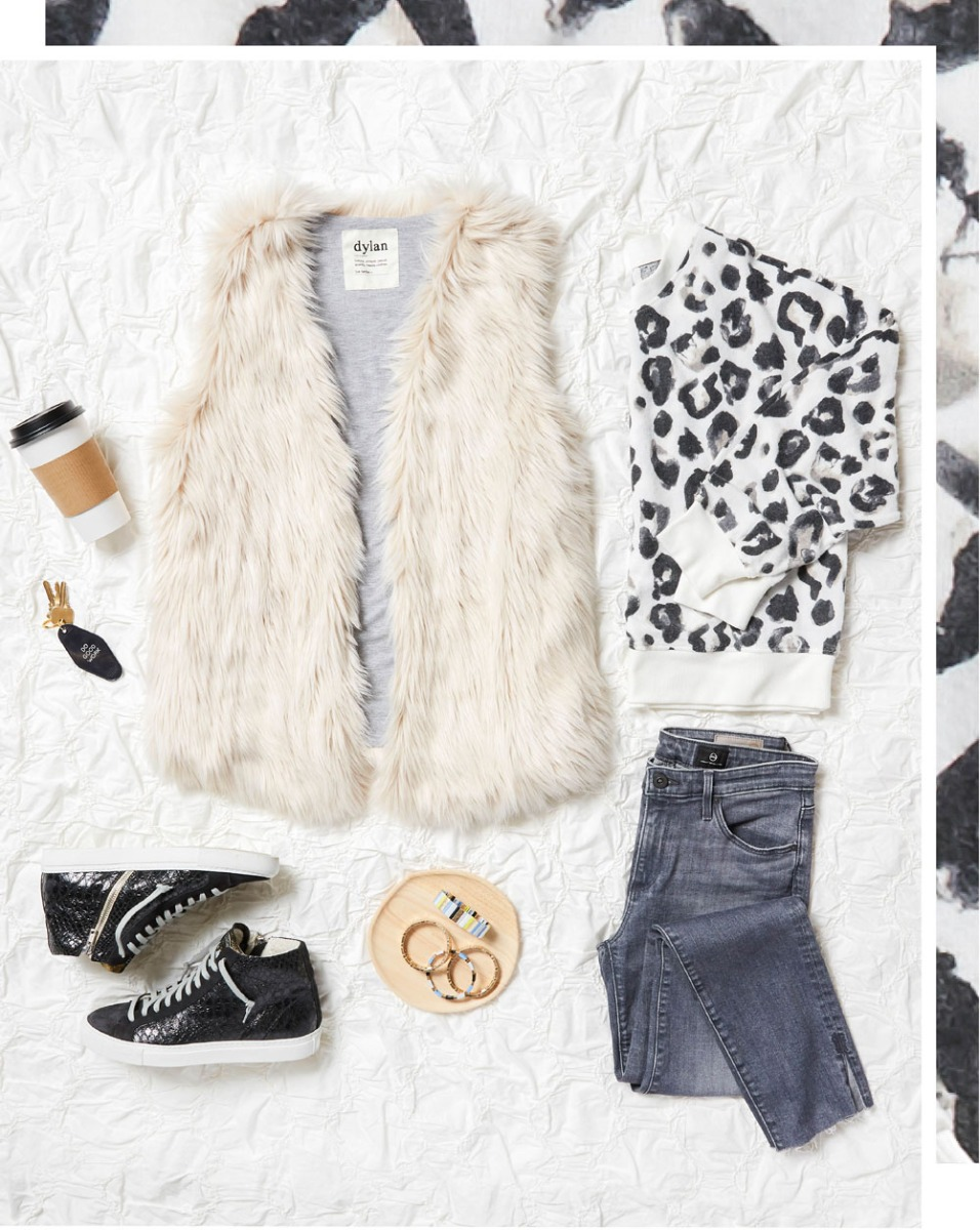outfit laydown with cozy vest