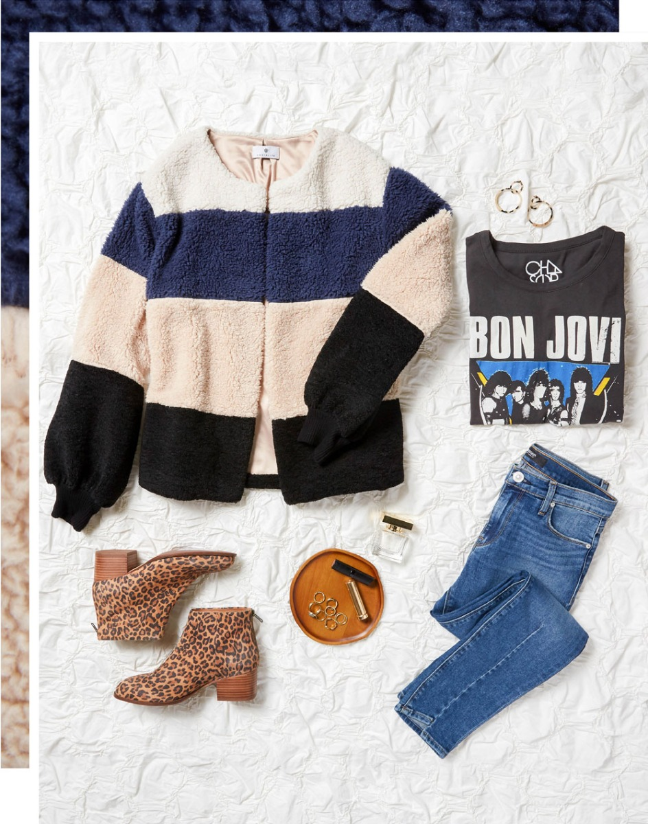 outfit laydown with colorblocked cozy jacket