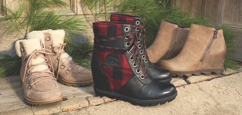 an assortment of sorel boots