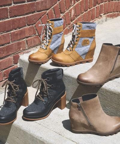 an assortment of Sorel fall boots