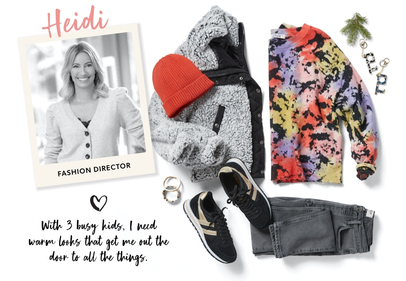 Heidi, fashion director: With 3 busy kids, I need warm looks that get me out the door to all the things.