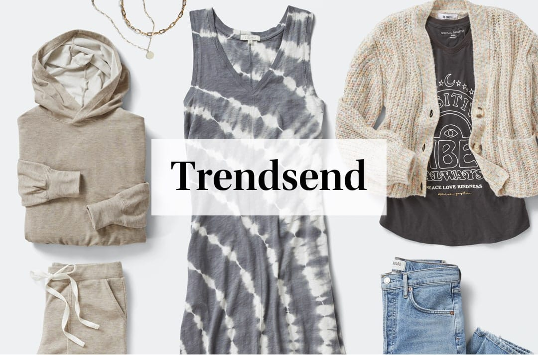 An assortment of new clothes from the latest Trendsend theme box for January.