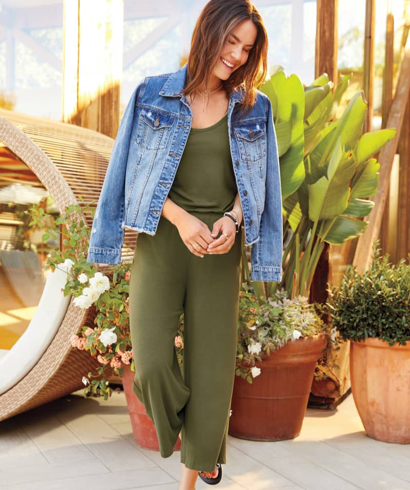 woman in olive green jumpsuit and jean jacket – Shop Top-Rated