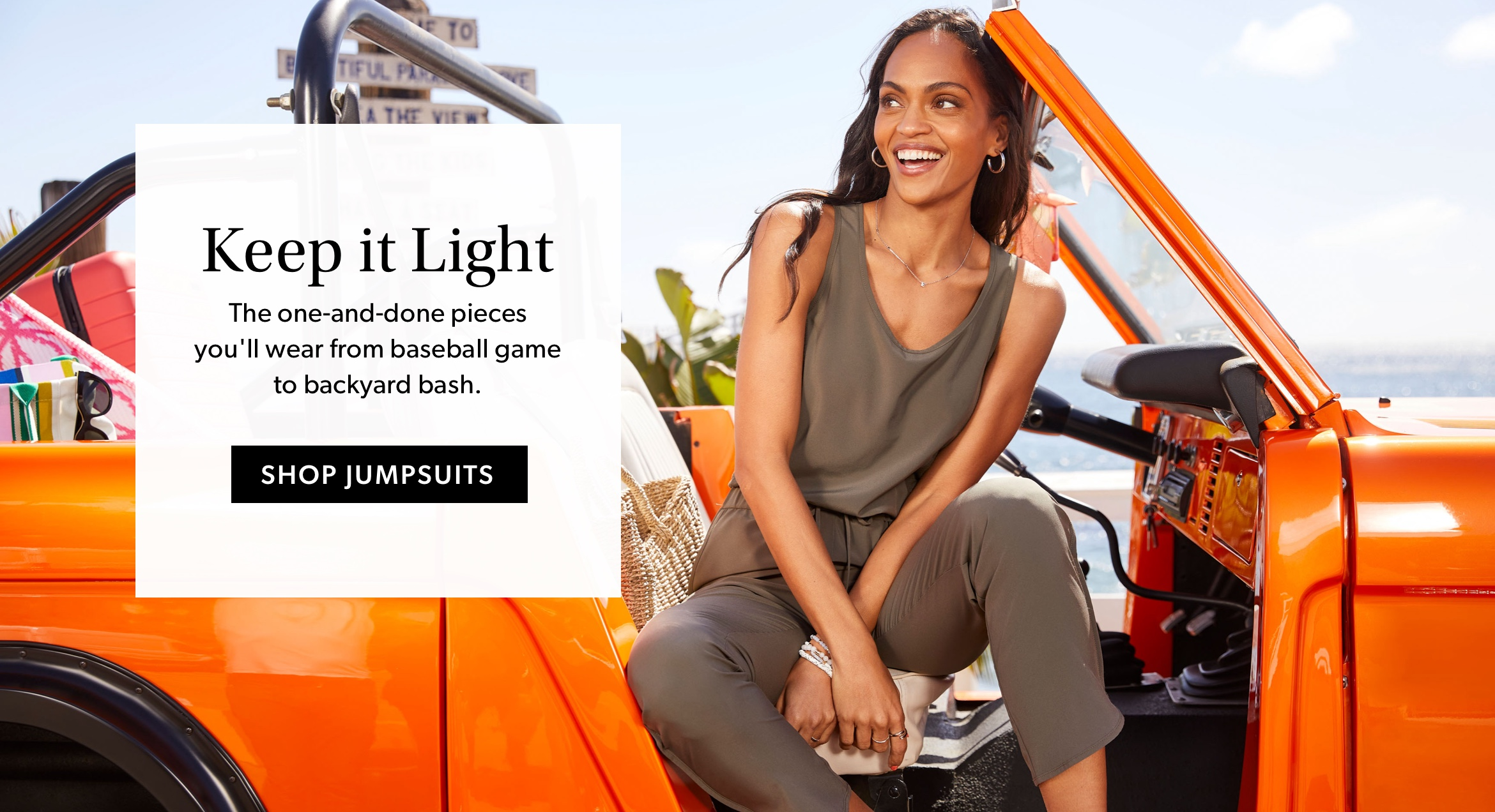 Keep it Light- The one-and-done pieces you'll wear from baseball game to backyard bash. - SHOP JUMPSUITS.