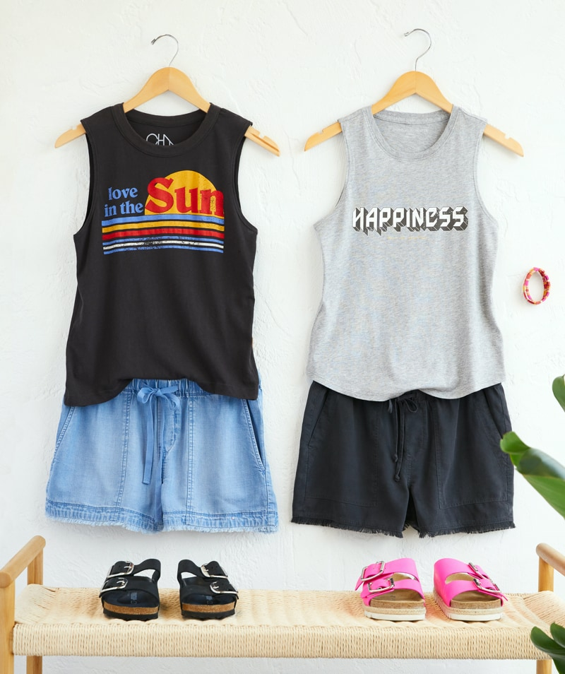 Two graphic muscle tanks paired with two pairs of soft shorts and sandals - shop tops