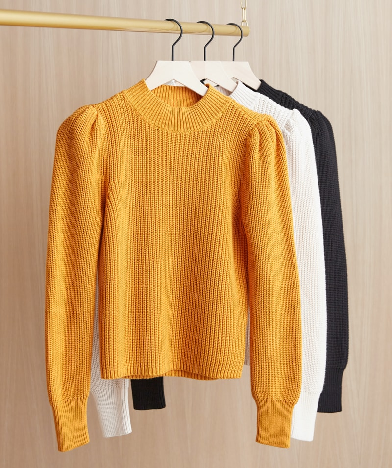 puffed sleeve knit sweaters shown in three colorways – shop sweaters.