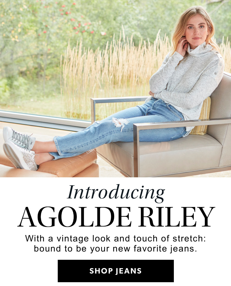 Introducing Agolde Riley. With a vintage look and touch of stretch: bound to be your new favorite jeans. Shop Jeans.