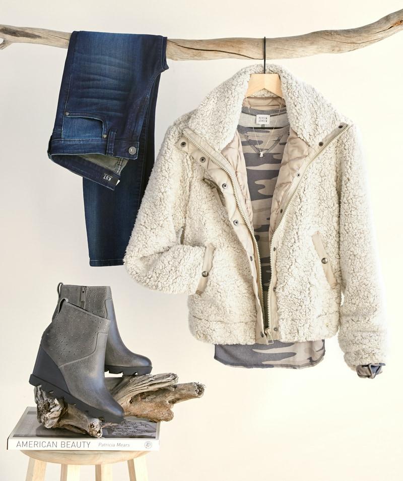 Cozy bomber jacket, grey and tan camo top, simple necklace, denim and Sorels.