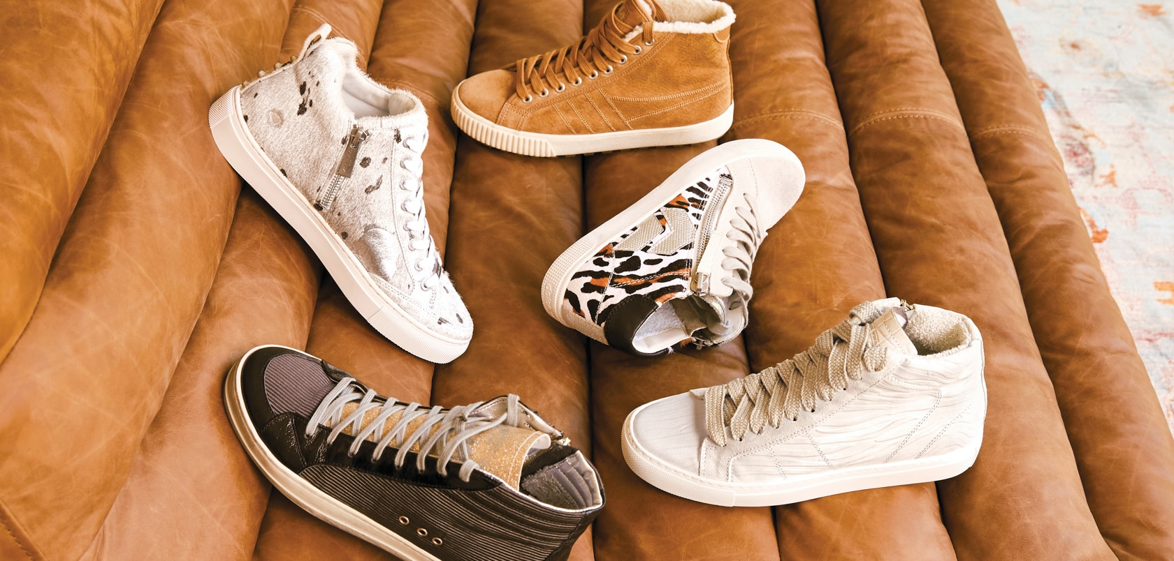an assortment of fashion sneakers
