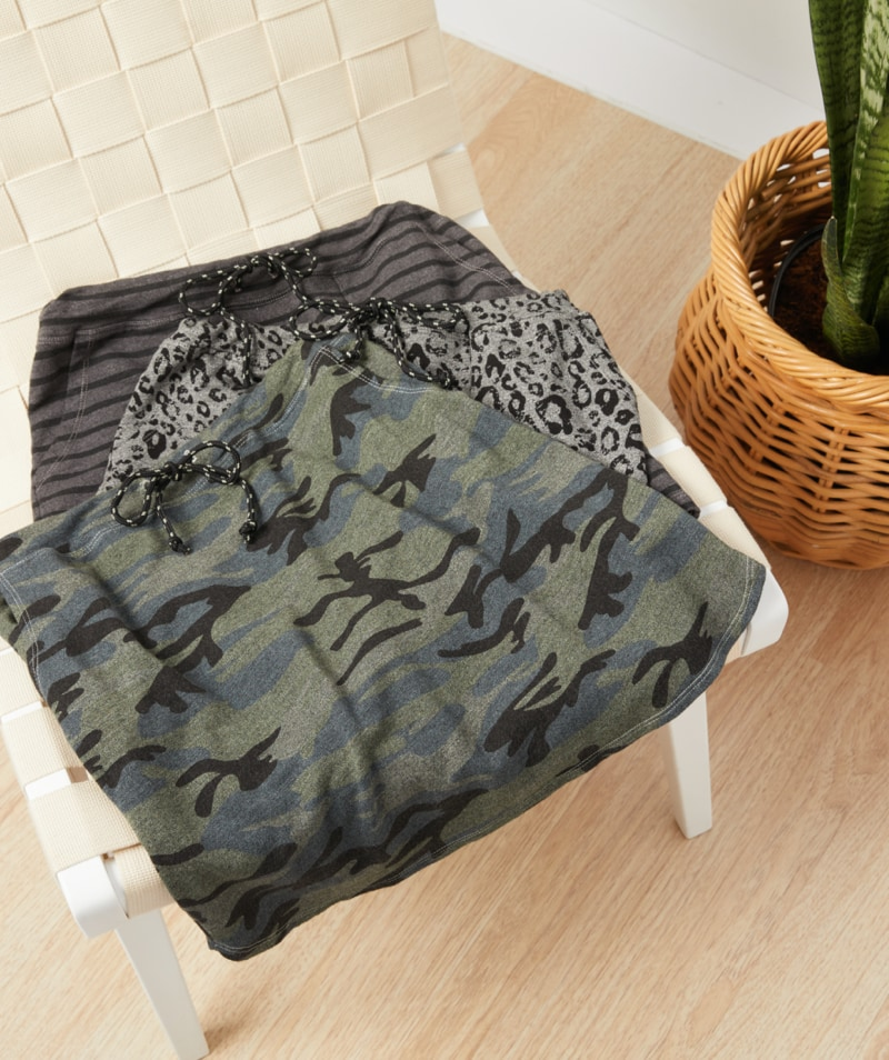 a variety of Sundry skirts - camo, leopard print and stripes - shop skirts
