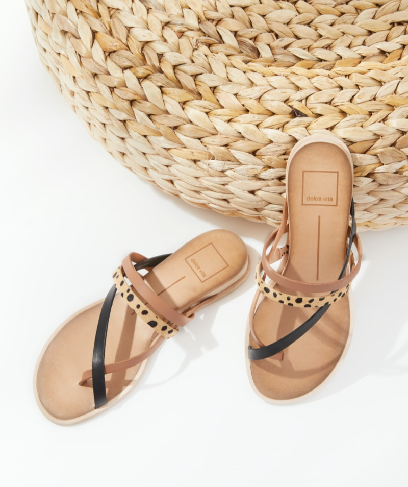 Fashion sandals with brown leather, black leather and animal print details – shop sandals