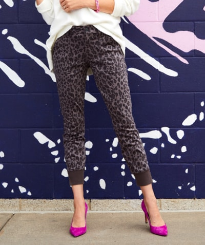 woman in leopard print utility pants and magenta heels - Shop Level 99