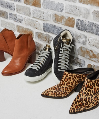 Leopard print Dolce Vita mules, black P448 sneakers and Dolce Vita brown leather booties