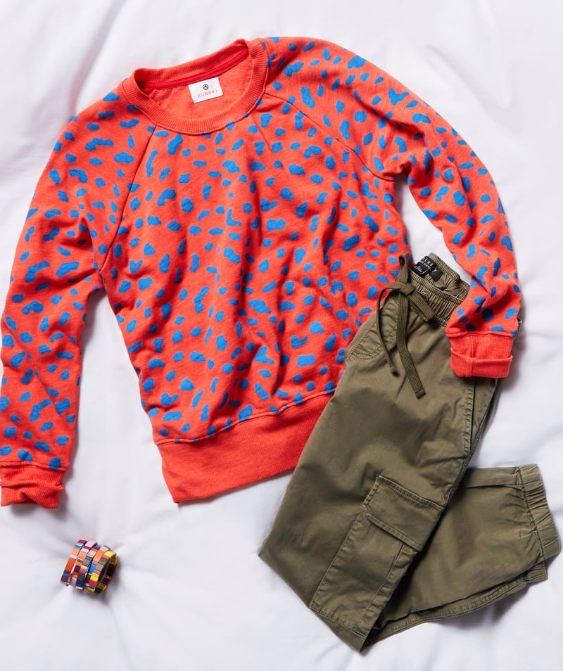 studio laydown of a red sweatshirt with blue animal graphic prints, olive green joggers and jewelry - shop sweatshirts