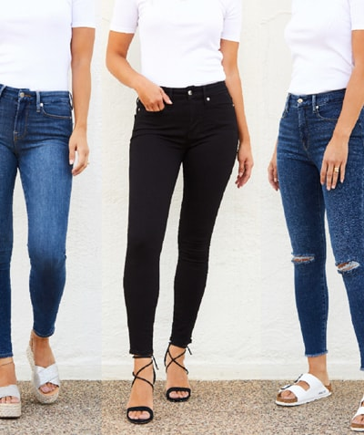 three different styles of our new Good American Denim featured on 3 models