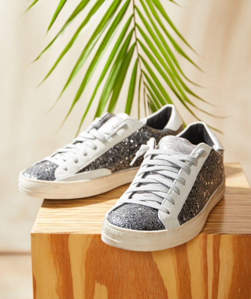 P448 sneakers with dark grey glitter details - Shop P448 Sneakers