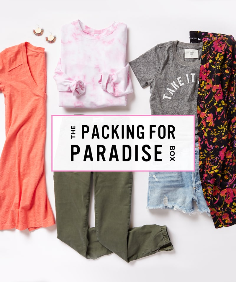 Packing for Paradise Trendsend theme box complete with a tie-dye sweater, graphic tee, kimono, utility pants, denim shorts, jewelry and a t-shirt dress - Order A Trendsend Theme Box