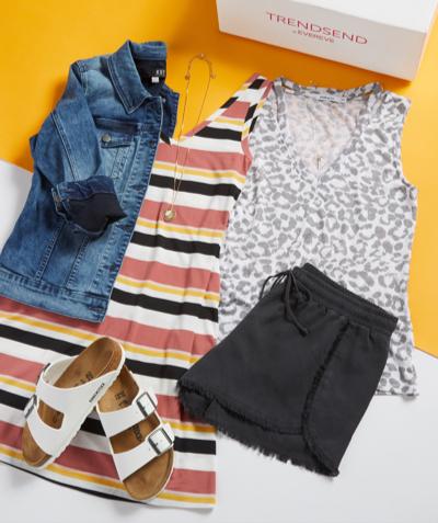 laydown of jean jacket, stripe dress, animal print muscle tee, black shorts and Berks