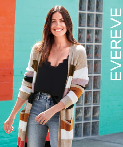Evereve's fall catalog cover – a woman in a long colorful stripe cardigan with black cami and jeans