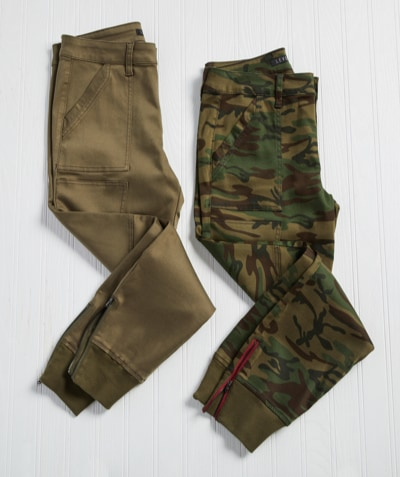 laydown of two pairs of joggers - olive green and camo