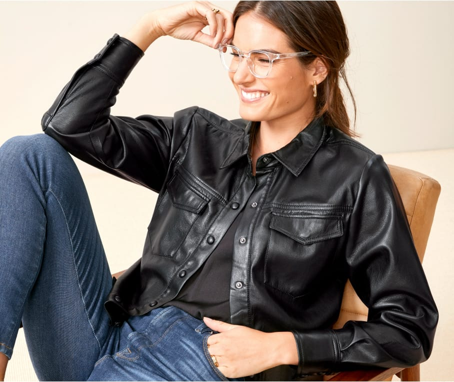 vegan leather button-down