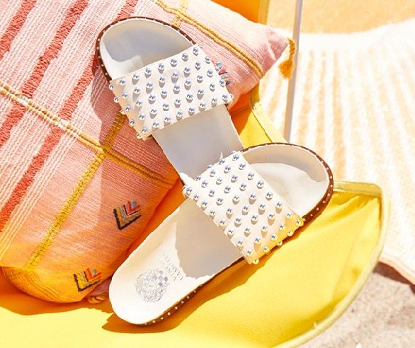 white studded slides
